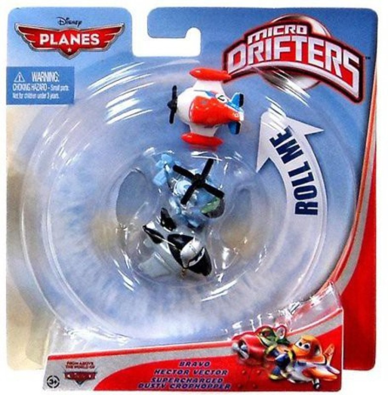 Disney planes micro drifters bravo hector and supercharged dusty(Blue)