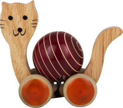 Adaa Cat Pull Along Wooden Toy