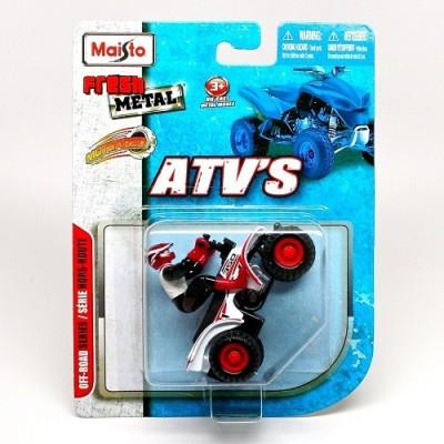 MAISTO MOTORIZED RACING ATV WITH PULL BACK WHITE