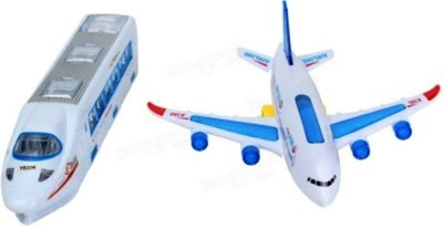 Turban Toys combo of colorful Musical Plane & musical train Bump And Go With Lights