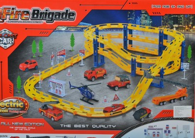 Planet of Toys Fire Brigade Car Track PlaySet