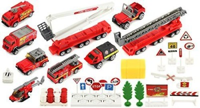 Toy Vehicle Playsets Brave Fire Fighters 40 Piece Mini Diecast Children,S Kid,S