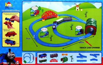 ToyTree Thomas Train Battery Operated and Set with Changeable Tracks + Over-Bridge + Tunnel + Light Sound and Accessories