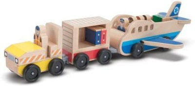 Melissa & Doug Children,S Whittle World Plane And Luggage Carrier Set