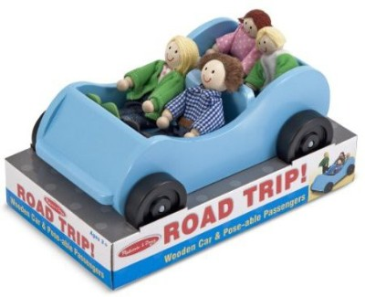 Melissa & Doug Road Trip Wooden Car And Poseable Passengers Playset