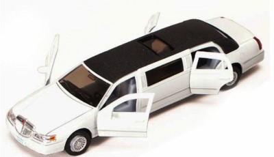 SHOPTICO Kinsmart Diecast Metal 1999 Lincoln Limousine White