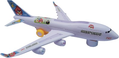 Flipzon Aviation Aerobus 747 Boeing Airplane Toy With Lights Effect & Self Rotating