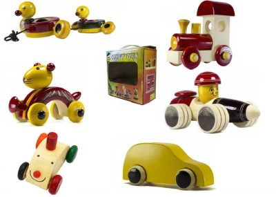 CeeJay Set of 6 Colorful Wooden Baby Toys:Model OW-OW017