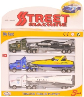 Homeshopeez Die Cast Truck Trailer Playset with Plastic Parts