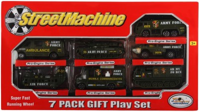 Just Toyz Street Machine Die Cast Army Military Style Super Fast Running Wheel 7 Cars Gift Set