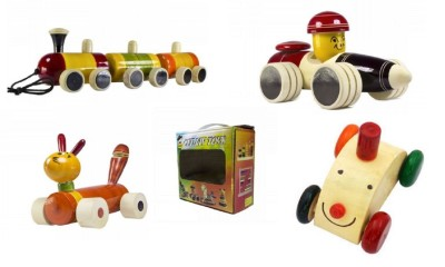 CeeJay Set of 4 Colorful Wooden Baby Toys:Model OW-OW002
