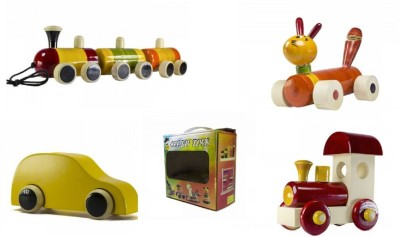 CeeJay Set of 4 Colorful Wooden Baby Toys:Model OW-OW005