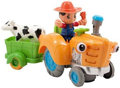 Techege Toys Fun Tractor Driving Farmer With Cowbump,N,Go Kids Farm Fun