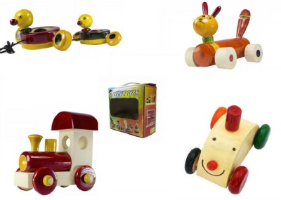 CeeJay Set of 4 Colorful Wooden Baby Toys:Model OW-OW016