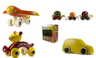 CeeJay Set of 4 Colorful Wooden Baby Toys:Model OW-OW007