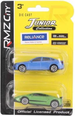 RMZ City Audi A5 Sportback And Lamborghini Gallardo LP570 4 Car Toys Blue And Green - Pack Of 2