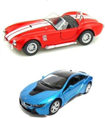 Kinsmart Ford Shelby Cobra Red and BMW i8 Blue Metal Model
