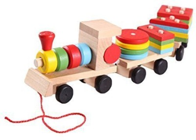 Emotionlin Wooden Small Stacking Train Blocks Geometrical Shape Pull Along Train Stacker for 1-4 Year Baby Kids Toddler Child