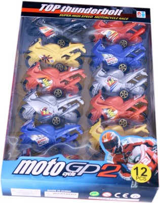 Indigo Creatives  Kids miniature motorcycle amazing value kit of 12 bikes with pull windup and go Fun!