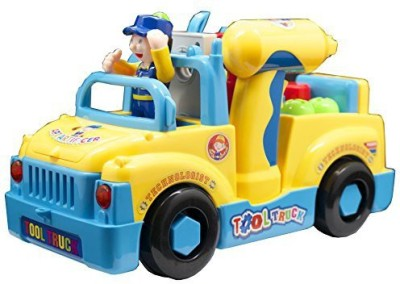 Techege Toys Bump,N,Go Tool Truck For Kids Fun Builder With Lights