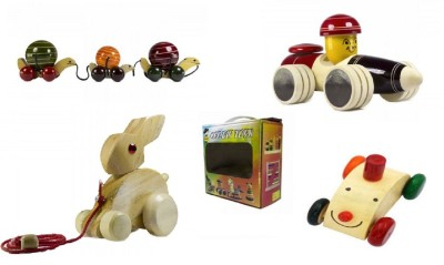 CeeJay Set of 4 Colorful Wooden Baby Toys:Model OW-OW006