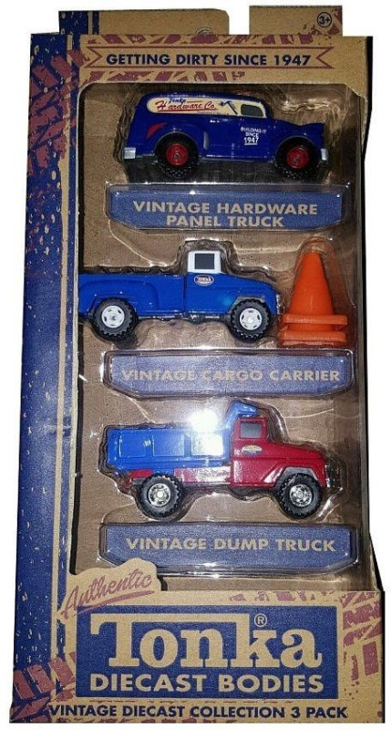 Funrise Tonka Diecast Vintage Mini 3-Pack - Hardware Panel Truck, Cargo Carrier, And Dump Truck(Multicolor)