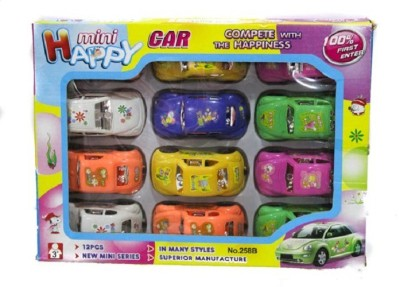 Happy 12 Pcs Of Pull & Push Car Set