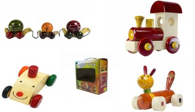 CeeJay Set of 4 Colorful Wooden Baby Toys:Model OW-OW009