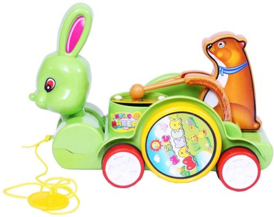 E Soft Cute Rabbit Carriage with Drum Pull Along Toy