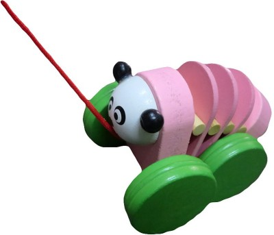 DCS Wooden pull long panda toy Pink Color (5 inch)