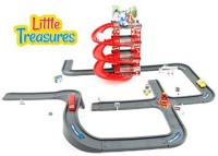 Little Treasures My First City Parking Toy Play Set With Robot Cars And Lots Of City Street Roads