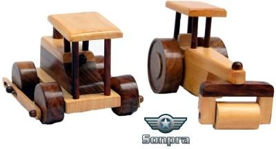 Sonpra Baby Wooden Toys - Antique Handicraft Road Rollers Combo
