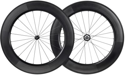 Monoprice 88mm Carbon Clincher Wheelset featuring Sapim CX-Ray Spokes 2 Wheeler Tyre(88mm, Tube Type)
