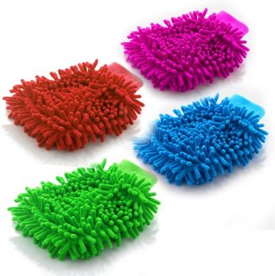 Evana Microfiber Vehicle Washing Hand Glove(Pack Of 4)