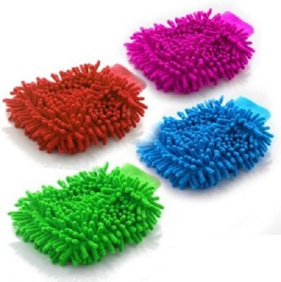 Retina Microfiber Vehicle Washing  Hand Glove(Pack Of 4)
