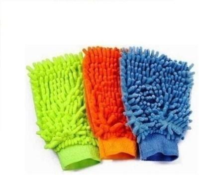 Sphiron Microfiber Vehicle Washing  Hand Glove(Pack Of 3)