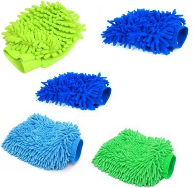 Nimarketing Microfiber Vehicle Washing  Hand Glove(Pack Of 5)