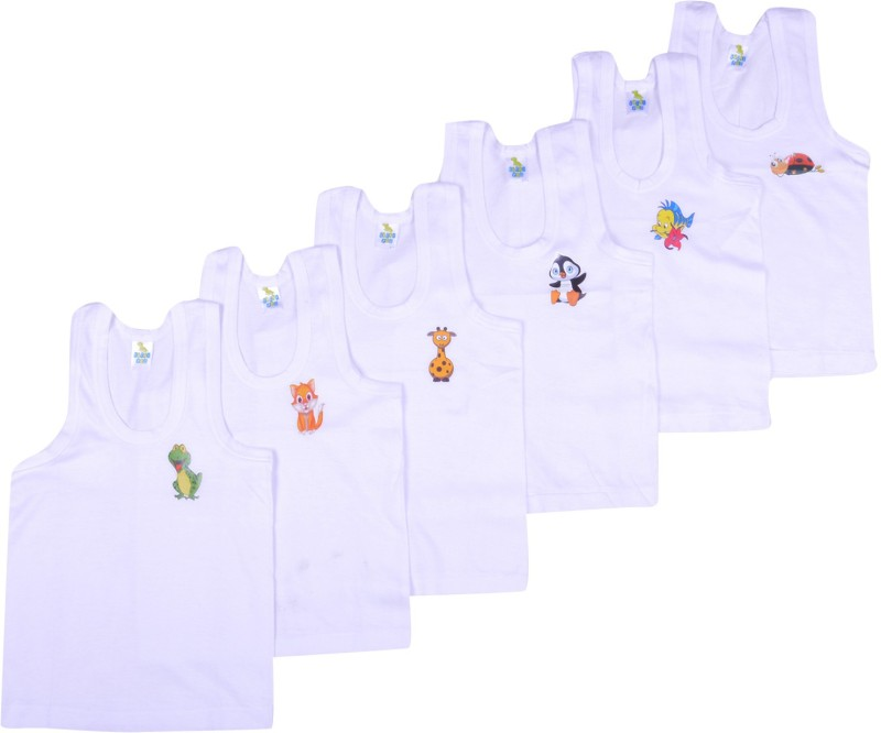 Kuchipoo Vest For Baby Boys Cotton(White, Pack of 6)