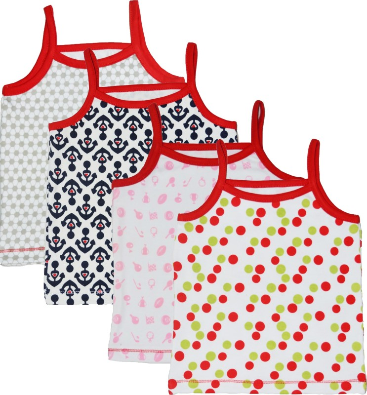 Myfaa Vest For Baby Girls Cotton(Multicolor, Pack of 4)