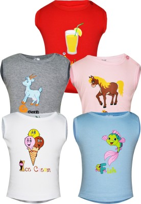Gkidz Printed Baby Boy's Round Neck Pink, White, Grey, Red T-Shirt
