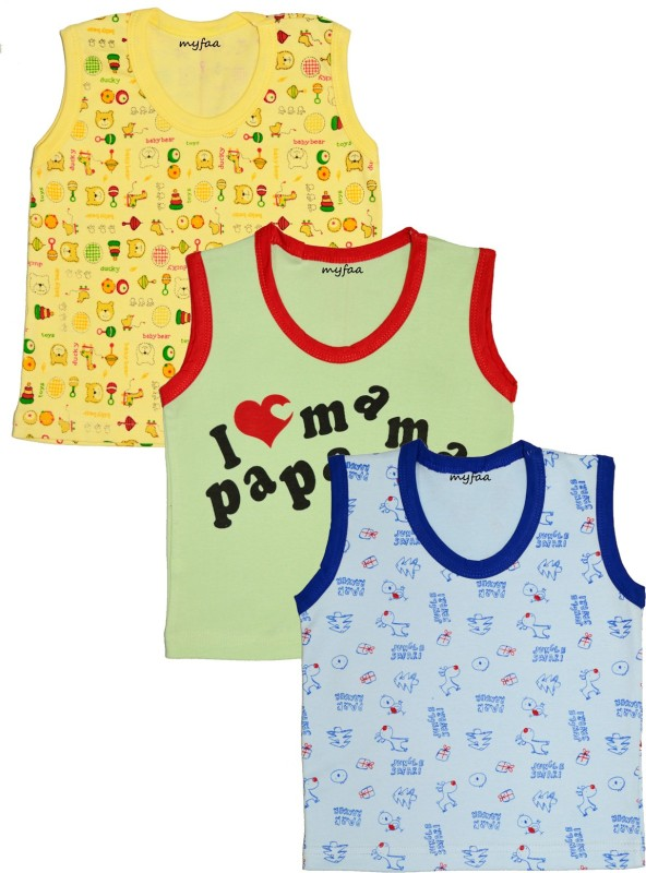 Myfaa Vest For Baby Boys Cotton(Multicolor, Pack of 3)
