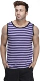 Rigo Striped Men's Scoop Neck Purple T-S...