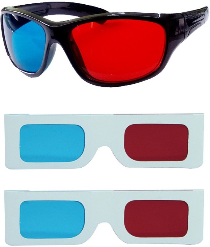 Hrinkar Updated Version 1 Plastic + 2 Paper Video Glasses(Black, white)