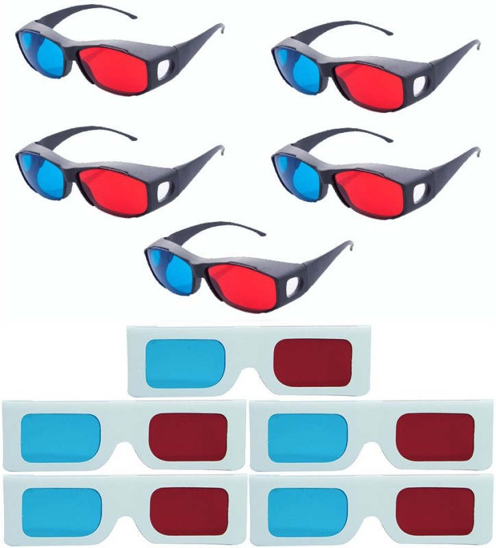 Hrinkar Updated Version 5 Plastic + 5 Paper Video Glasses(Black, white)