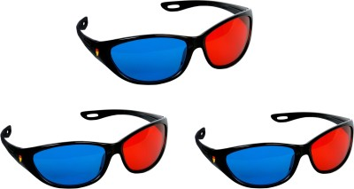 SMR 3D Real- Red and Blue Lens ( Pack Of 3 ) Video Glasses