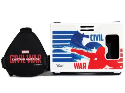 AuraVR Official Marvel Civil War (Captain America/Iron Man), Superheroes Battle Virtual Reality Viewer Video Glasses
