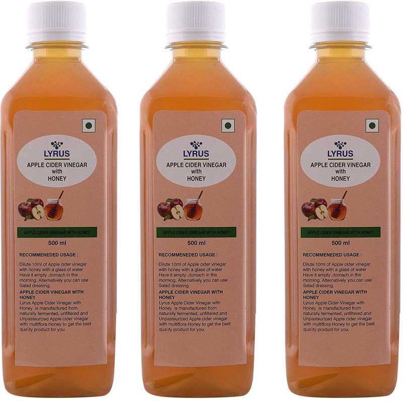 Lyrus Apple Cider Vinegar with Honey (Pack of 3) Vinegar 500 ml(Pack of 3)