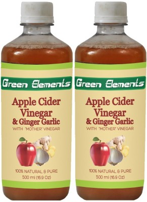 Green Elements Apple Cider & Ginger-Garlic (Raw, Unprocessed and Unrefined) with the Mother Vinegar 1000 ml