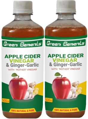 Green Elements Apple Cider & Ginger-Garlic (Raw, Unprocessed and Unrefined) with the Mother Vinegar 1000 ml(Pack of 2)