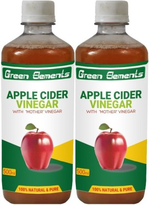 Green Elements Apple Cider (Raw, Unprocessed and Unrefined) with the Mother Vinegar 1000 ml(Pack of 2)